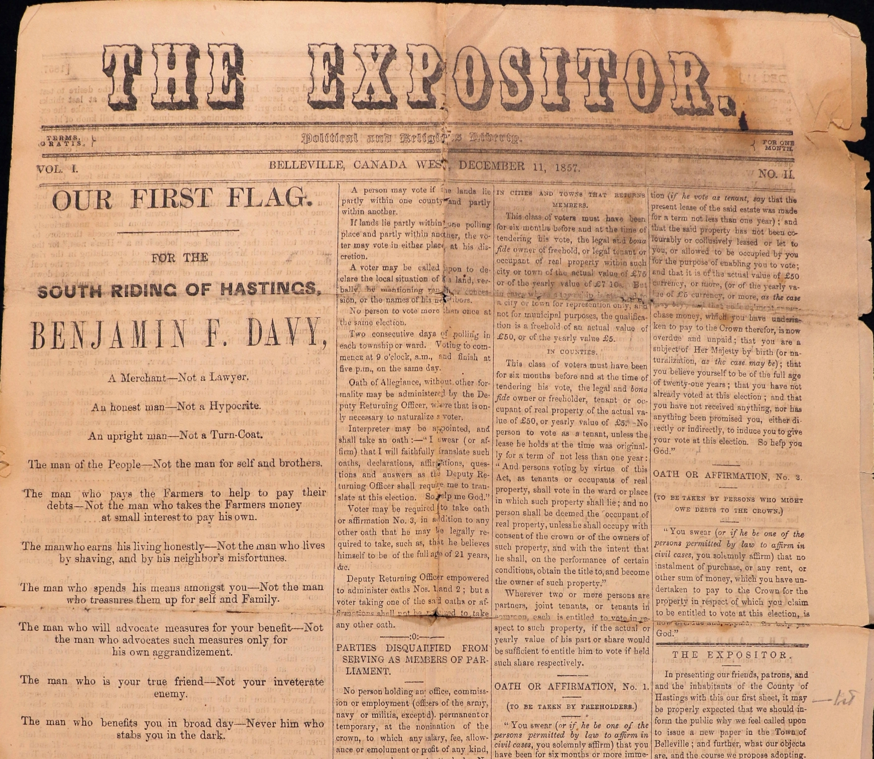 Front page of The Expositor newspaper of 11 December 1857.