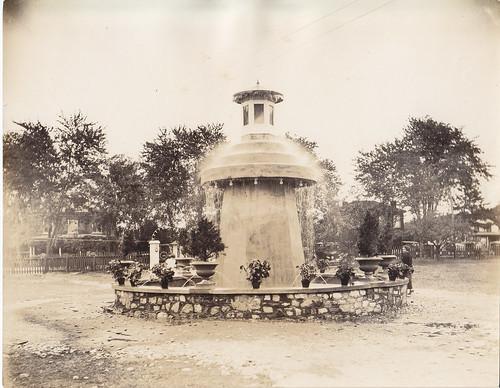 Concrete fountain in the 1920s.