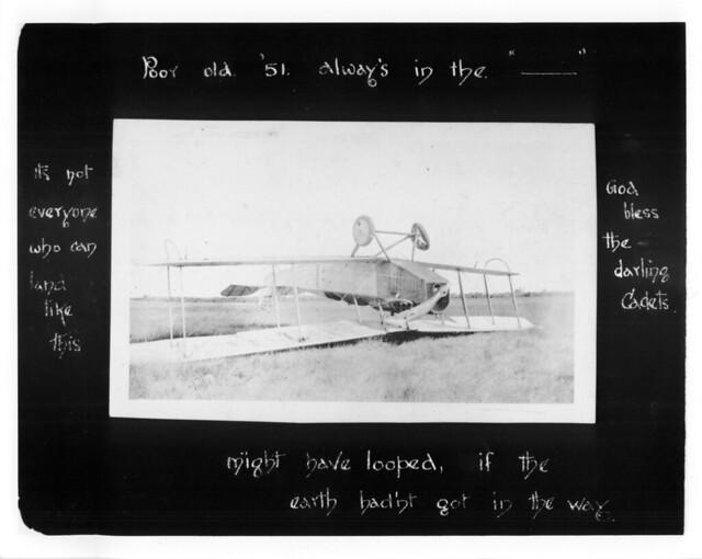 First World War aircraft on its back.