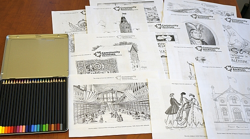 Colouring sheets and pencils