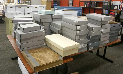 Deseronto archives boxes in Community Archives reading room