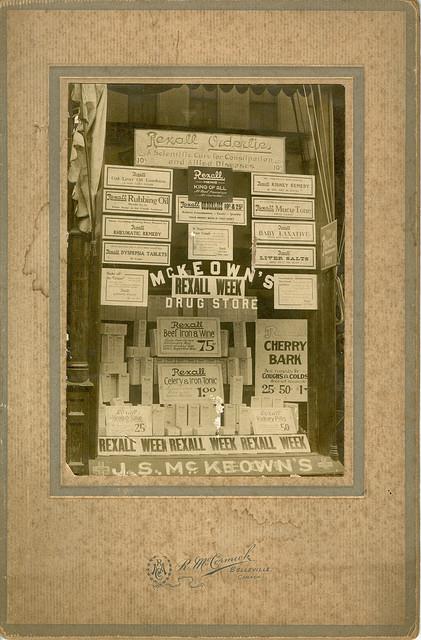 Advertising display in drugstore window.