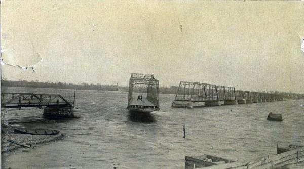 Swing bridge opening.