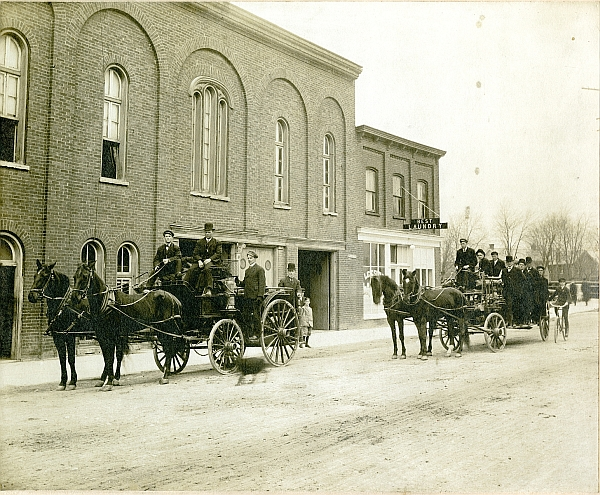 Fire hall and firemen.