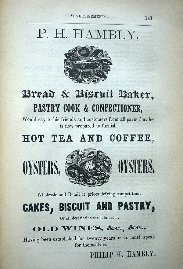 Ad for Philip H. Hambly bakery.