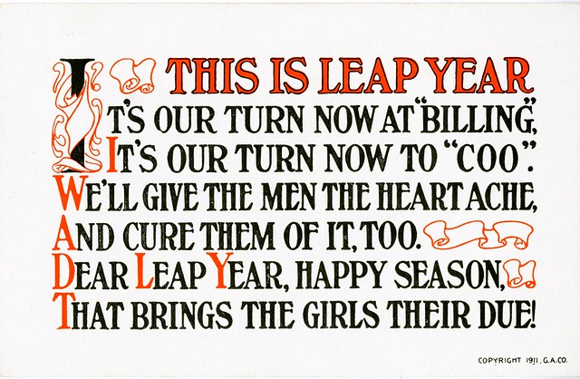 Leap Year postcard reads: This is leap year It's our turn now at