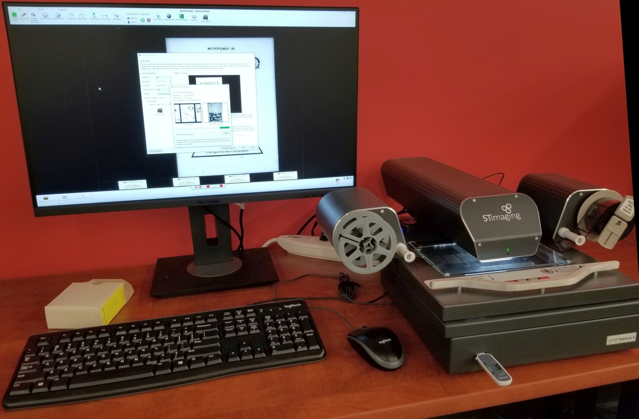 Microfilm scanner in operation.