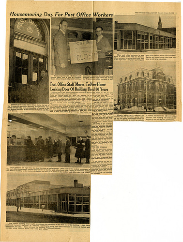 Newspaper article about moving day at the Belleville Post Office in 1960.