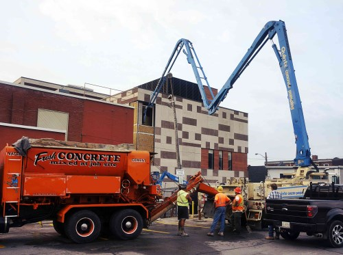 Concrete being poured into the Belleville Public Library building